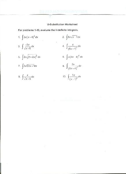 printables u substitution worksheet happywheelsfreak