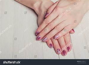 Pink Nail Art White Dots Lines Stock Photo 354788171 ...
