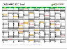 Calendário 2017 EXCEL Brazil e todos os estados