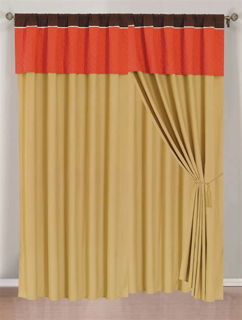 orange gold curtain set w valance sheer tassels