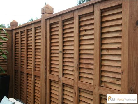 louvered wood privacy fence  fenceworkshop