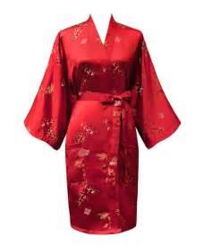 Free Shipping Red Women S Robe Silk Polyester Kimono Robe ...