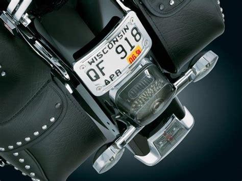 harley davidson chrome curved laydown license plate mount  frame  kuryakyn