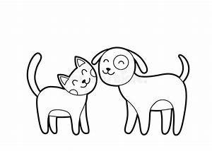 Cartoon cat and dog sketch stock vector. Image of adorable ...