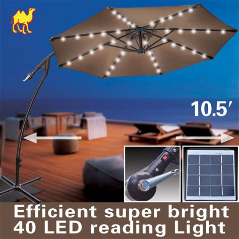 9ft cantilever solar powered led light patio umbrella
