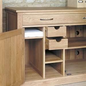 Mobel Oak Hidden Home Office Workstation Wooden