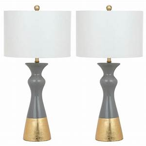 Safavieh iris 305 in grey gold table lamp set of 2 for Cars 2 table lamp