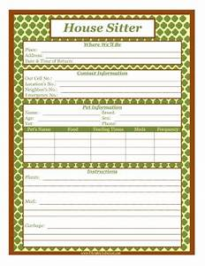 house sitter instructions template house sitter list