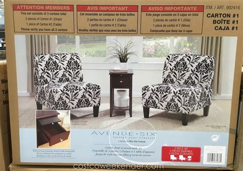 avenue six 3 chair and accent table set costco