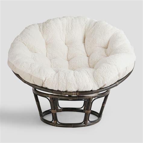 Ivory Faux Fur Papasan Cushion  World Market