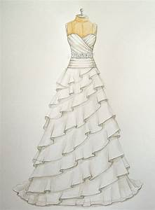 custom wedding dress illustration sketch on dress form With how to draw a wedding dress