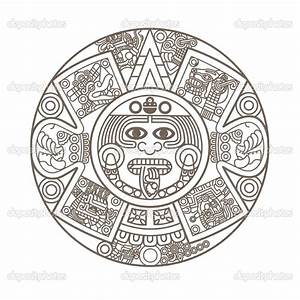 Aztec Calendar Coloring Page Tattoo   Ancient history ...