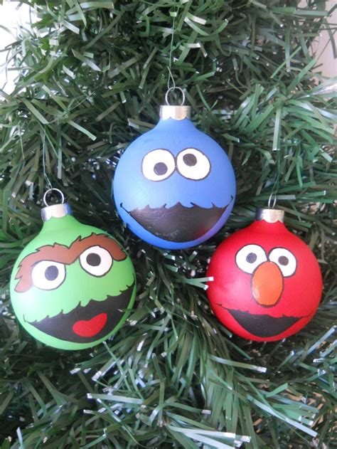 sesame street elmo cookie monster oscar hand painted ornament set sesame streets painted