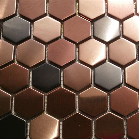 copper mosaic tile 2018 hexagon mosaics tile copper gold color black