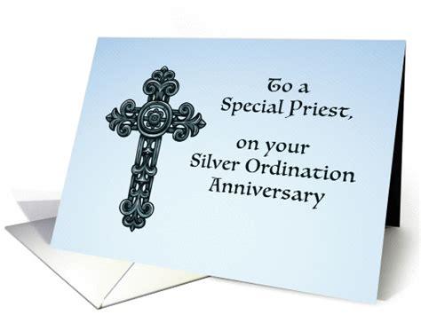 priest silver  ordination anniversary ornate cross card