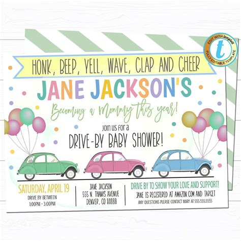 Drive By Baby Shower Parade Invite TidyLady Printables