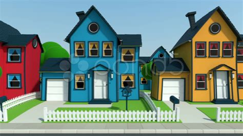 Driving Along Cartoon Suburban Houses