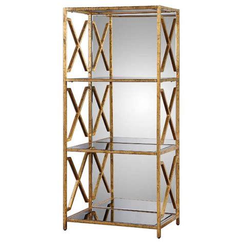 gold metal bookcase gold mirrored back bookshelf