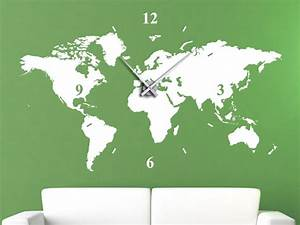 Wandtattoo Weltkarte Uhr : wandtattoo uhr weltkarte mit uhrwerk und zeiger bei ~ Sanjose-hotels-ca.com Haus und Dekorationen