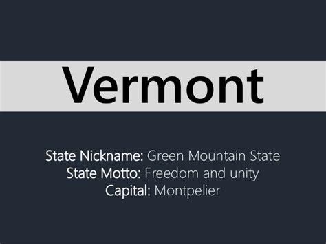 state nickname green mountain state