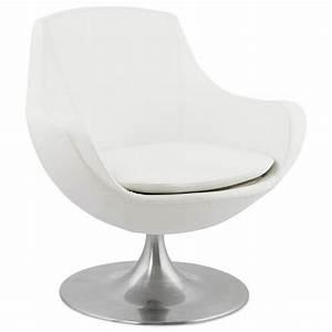 fauteuil design rotatif a 360 romane blanc With fauteuil en cuir blanc design