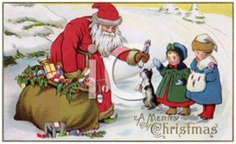 Santa Postcard Giving Toys To From Antique Santa Giving Toys To Children Royalty Free