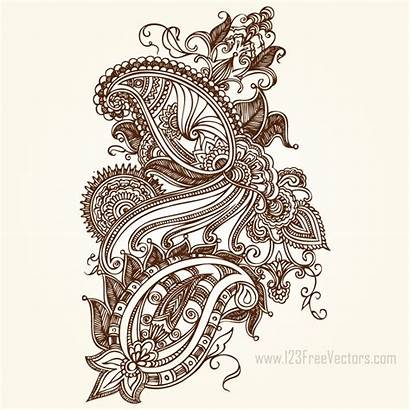 Paisley Graphics Henna Floral Pattern 123freevectors Drawing
