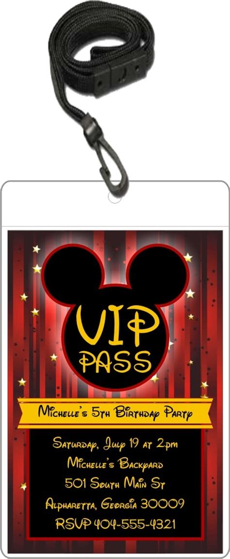 mouse vip pass invitation  lanyard mickey mouse
