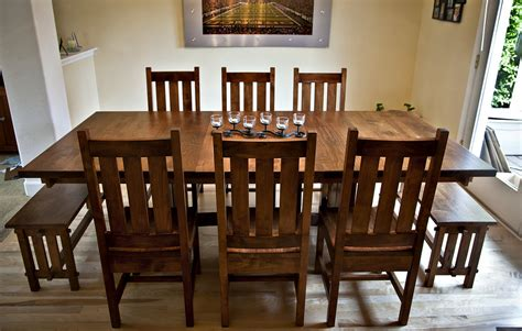 alder mission style dining table chairs benches