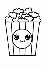 Coloring Popcorn Kawaii Coloring1 sketch template
