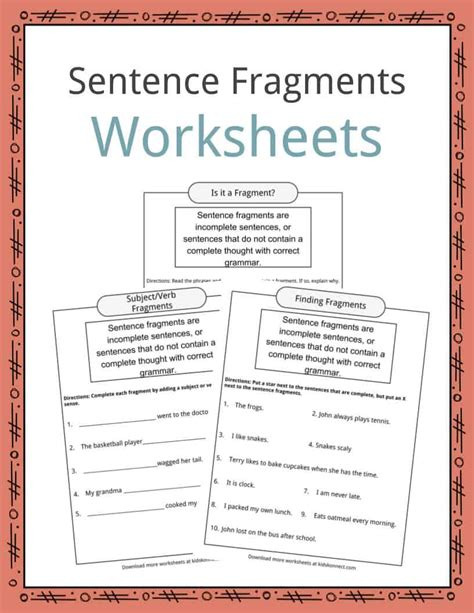 sentence fragments worksheets exles definition for