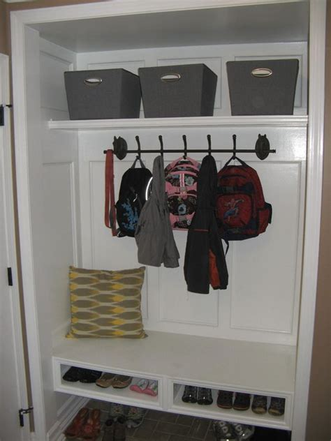 closet conversion into mudroom floating bench shoe