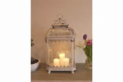 Shabby Chic Lantern Glass Candle Distressed