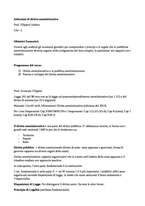 dispensa di diritto amministrativo istituzioni di diritto amminstrativo appunti