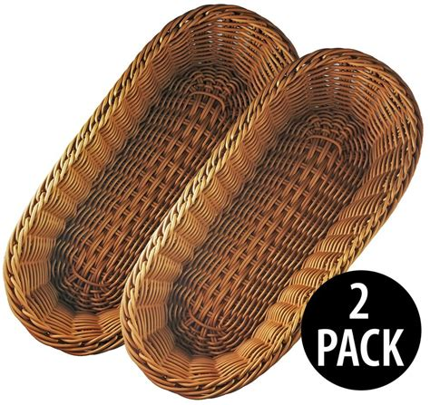 1892 woven bread baskets poly wicker bread basket 2 pack kovot