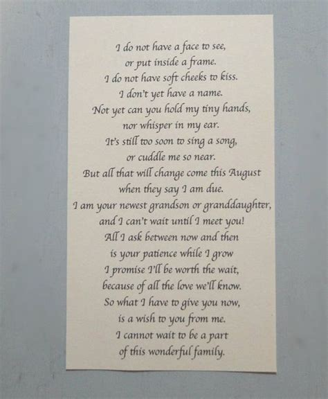 pregnancy announcement letter  baby poem cute love