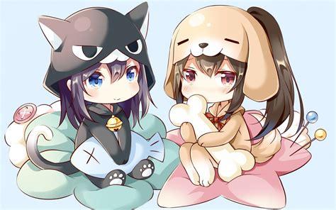 Download 1920x1200 Chibi Anime Girls Cute Hoodie
