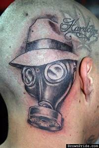 Gas Mask Tattoo On Man Head