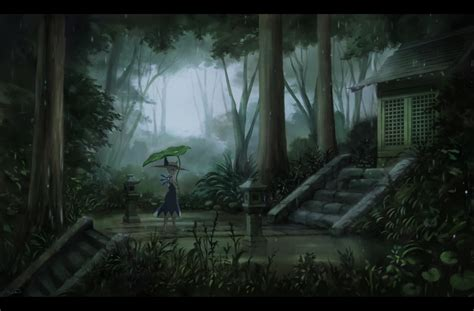Forest Anime Wallpaper - wallpaper anime landscape touhou cirno forest raining