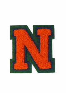 machine embroidered varsity letter n With iron on letters for towels