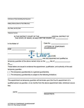 alabama temporary custody forms form 14 10 temporary guardianship letters idaho forms