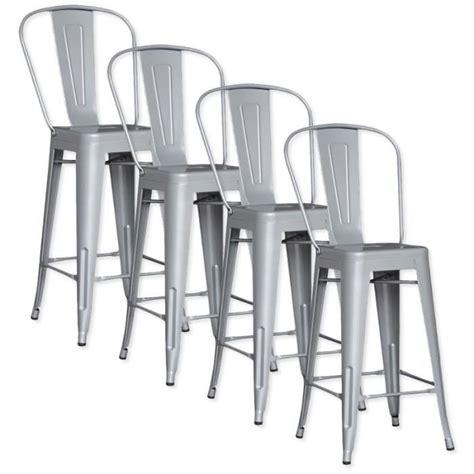 chaise de bar metal lot de 4 chaises de bar métal loft laqué gris achat