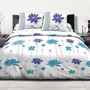 Parure De Lit Bleu : parure de lit polycoton 220x240 cm 3pcs flora bleu pas cher ~ Teatrodelosmanantiales.com Idées de Décoration