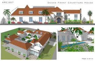 courtyard home designs large home plans designed by arcadia design oceanfront courtyard house cocoa us