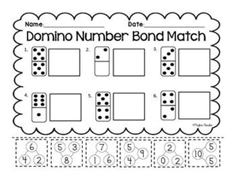 domino number bond match cut and paste common