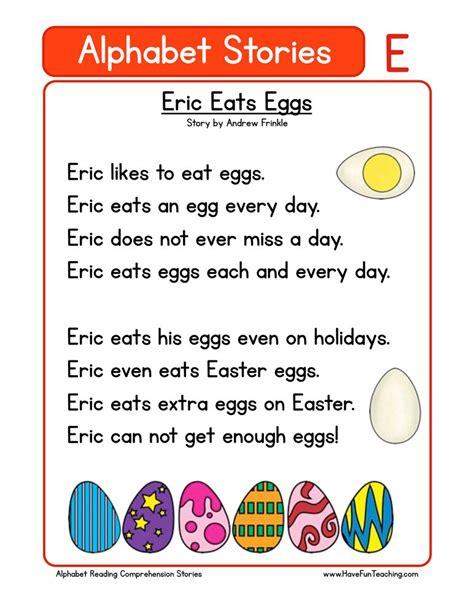 kindergarten reading comprehension worksheets 845 | alphabet stories comprehension e