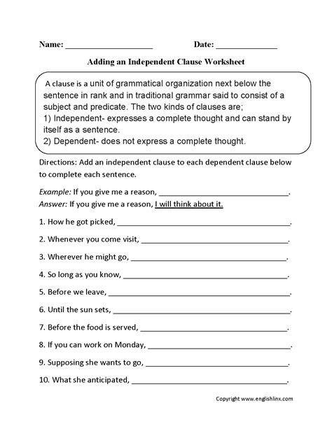 clauses worksheet englishlinx clauses worksheets