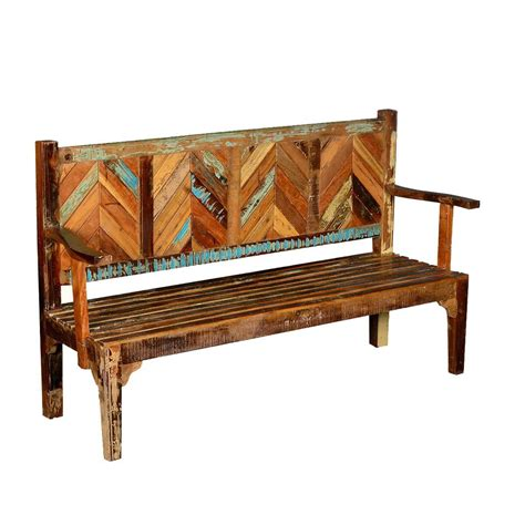 Wood Porch Bench - hanover rustic reclaimed wood parquet high back porch