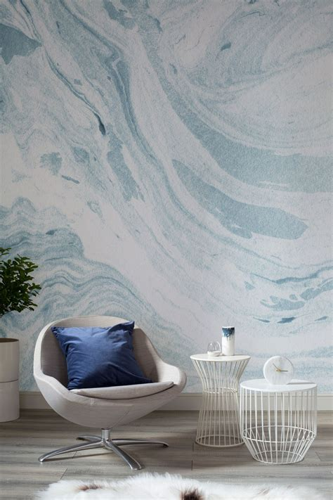 blue  white marbleized wallpaper mural wall murals