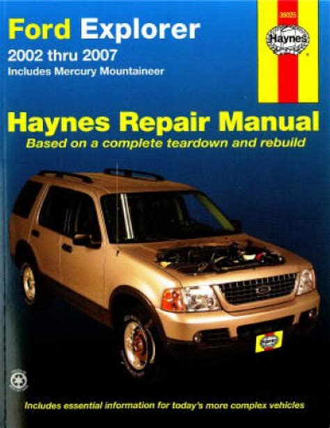 car service manuals pdf 1988 ford exp security system haynes ford explorer and mercury mountaineer 2002 2010 auto repair manual